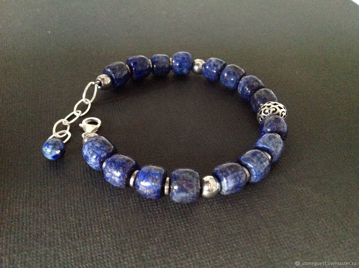 Men's bracelet made of silver and lapis lazuli, Bead bracelet, Moscow,  Фото №1