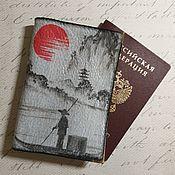 Канцелярские товары handmade. Livemaster - original item Passport cover leather red-black Chinese landscape. Handmade.