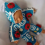 """Куклы и игрушки ручной работы. Ярмарка Мастеров - ручная работа Костюм """"Маки"""" с бусинами (штанишки, кофточка, чепчик). Handmade."""