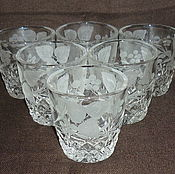 Винтаж handmade. Livemaster - original item CUPS, GLASSES. Set of 6 pieces. COLORLESS glass, crystal. LSHS. Handmade.