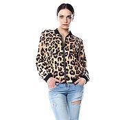 """Одежда ручной работы. Ярмарка Мастеров - ручная работа Модный бомбер с принтом """"Леопард"""" на шелковой подкладке. Handmade."""