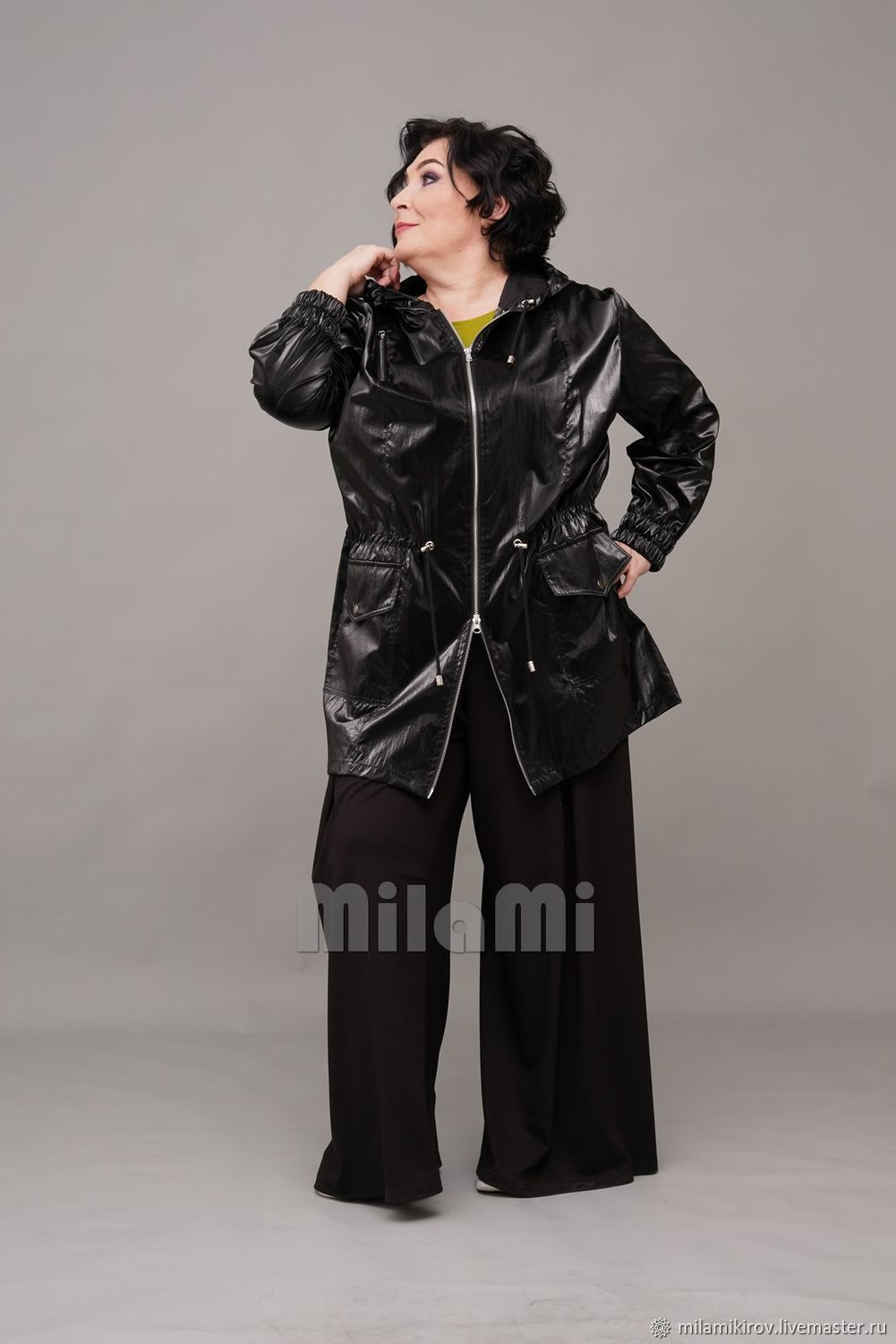 Parka made of black raincoat 'chameleon', with a hood. Art.4326, Parkas jacket, Kirov,  Фото №1