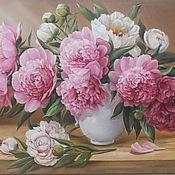 """Картины и панно ручной работы. Ярмарка Мастеров - ручная работа """" Пионы в белой вазе"""". Handmade."""