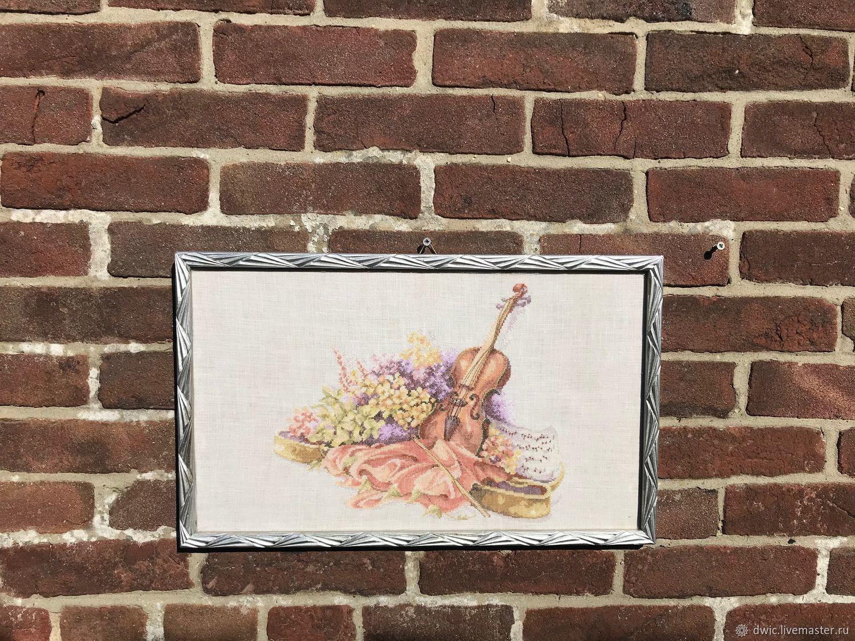 Embroidery 'Music of flowers and wind', handmade, Holland, Vintage interior, Arnhem,  Фото №1