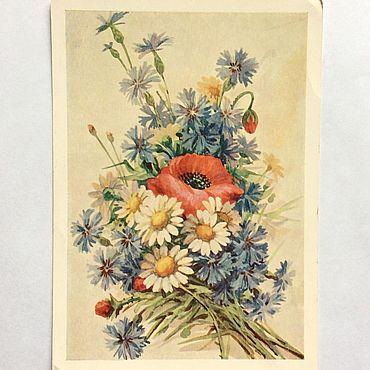 Винтаж ручной работы. Ярмарка Мастеров - ручная работа 1956 год Почтовая карточка Ромашки маки васильки. Handmade.