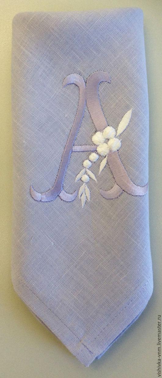 Носовые платочки ручной работы. Ярмарка Мастеров - ручная работа. Купить Носовой платочек с инициалами. Handmade. Бледно-сиреневый