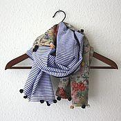 Аксессуары ручной работы. Ярмарка Мастеров - ручная работа Шарфик в синюю полосочку и цветочек (шелк, хлопок, розочки). Handmade.