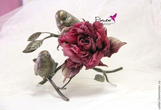 """Цветы ручной работы. Ярмарка Мастеров - ручная работа. Купить Цветы из шелка. Роза """"Бургунди"""" - заколка-брошь. Handmade. Бордовый"""