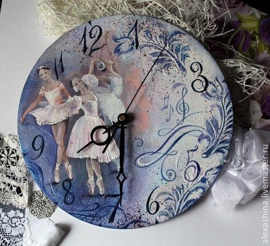 Часы для дома ручной работы. Ярмарка Мастеров - ручная работа. Купить Часы - Балет. Handmade. Голубой, часы декупаж