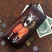 Сумки и аксессуары handmade. Livemaster - original item Chihuahua pet painted portrait on zip around long women wallet.. Handmade.