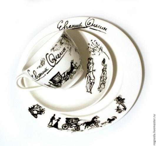 """Сервизы, чайные пары ручной работы. Ярмарка Мастеров - ручная работа. Купить Чайный набор """"Евгений Онегин""""  3 предмета (0849). Handmade."""