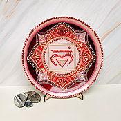 Для дома и интерьера handmade. Livemaster - original item Decorative plate. Muladhara chakra, painted on glass.. Handmade.