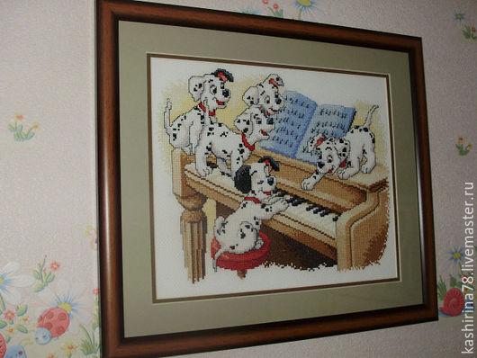 """Животные ручной работы. Ярмарка Мастеров - ручная работа. Купить """"Долматинцы"""" картина, вышитая крестом. Handmade. Вышивка крестом"""