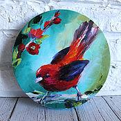 Картины и панно handmade. Livemaster - original item Oil painting on canvas with a bird 20 cm.. Handmade.