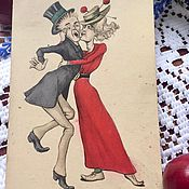 Винтажные книги ручной работы. Ярмарка Мастеров - ручная работа Юмористическая антикварная открытка. Handmade.