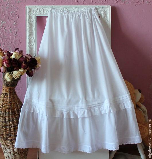 Юбки ручной работы. Ярмарка Мастеров - ручная работа. Купить Нижняя юбка бохо Шитье. Handmade. Белый, юбка из хлопка