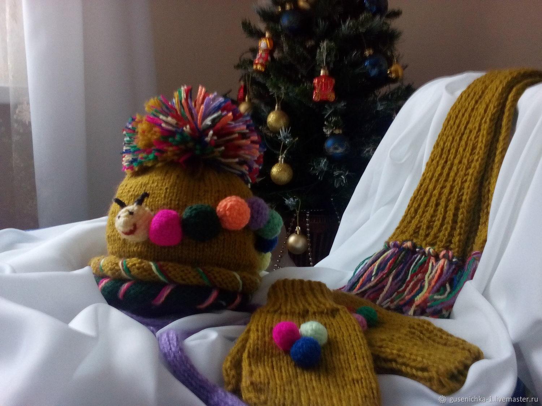 Гусеничка, Комплект из шарфа и шапки, Москва,  Фото №1