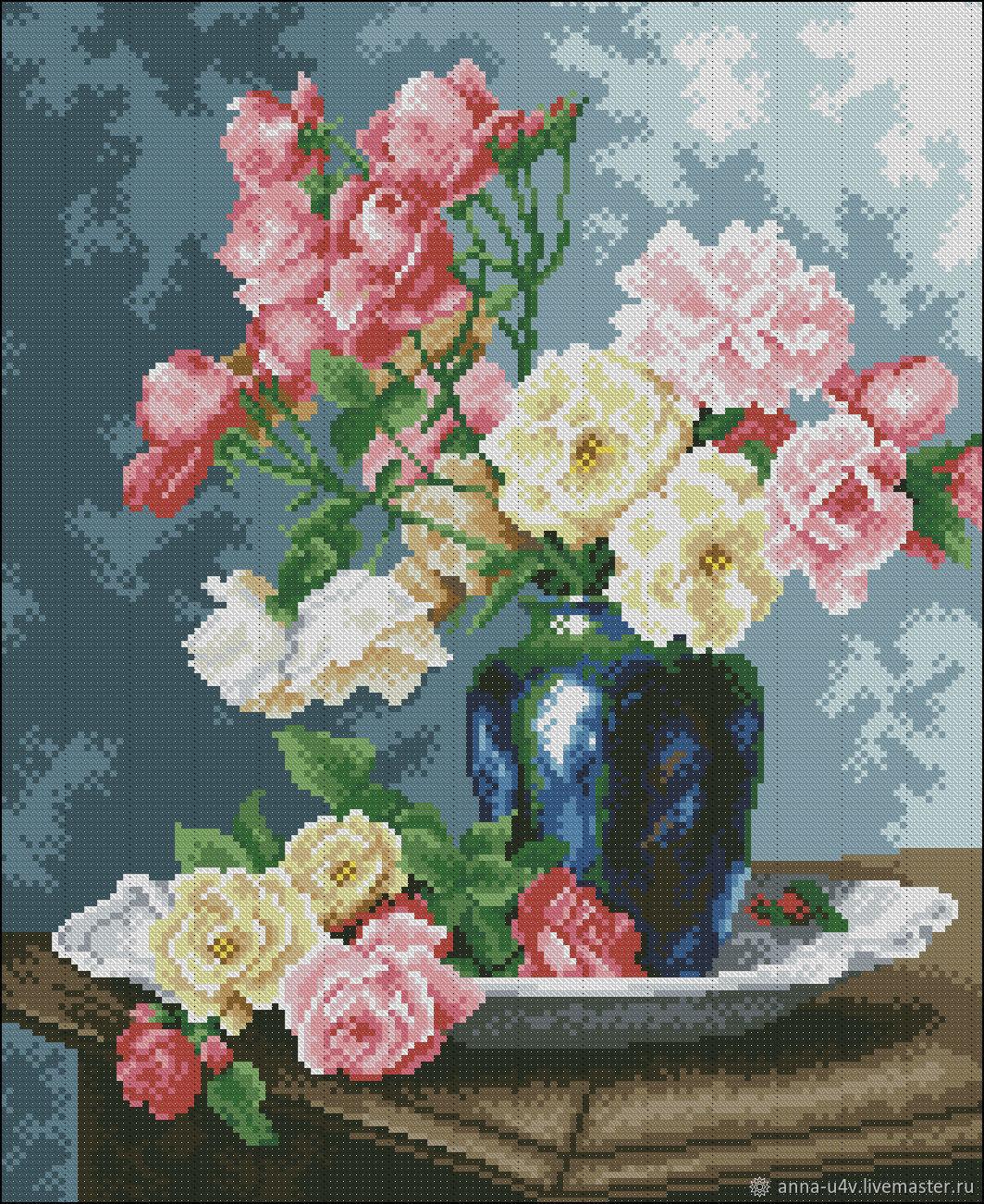 Натюрморт с розами, Схемы для вышивки, Брянск,  Фото №1