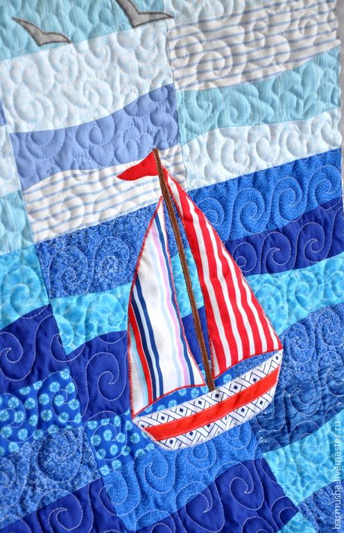 """Пледы и одеяла ручной работы. Ярмарка Мастеров - ручная работа. Купить Детское лоскутное одеяло (покрывало) """"Морская прогулка"""". Handmade."""