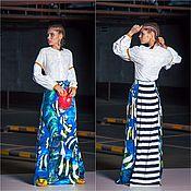 Одежда ручной работы. Ярмарка Мастеров - ручная работа Шелковая юбка с полосатым хвостиком. Handmade.