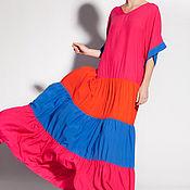 Фуксия макси летнее длинное свободное широкое бохо платье