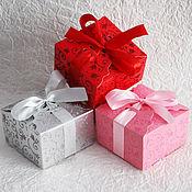 Материалы для творчества ручной работы. Ярмарка Мастеров - ручная работа коробка сборная Блестящие узоры 3 цвета 9х9х5,5. Handmade.