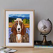 Картины и панно handmade. Livemaster - original item Basset from Provence. Poster. Handmade.