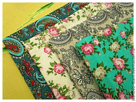 Набор тканей для пэчворка. 4 отреза ткани, размером45 см*45 см.