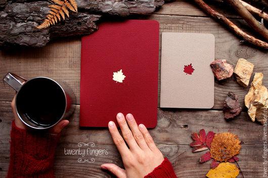 """Блокноты ручной работы. Ярмарка Мастеров - ручная работа. Купить Набор из 2-х тетрадей """"Клен"""" А6+А5. Handmade. канада"""