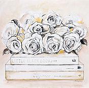 Картины и панно ручной работы. Ярмарка Мастеров - ручная работа Шебби-Розы  - картина на шелке, розы. Handmade.