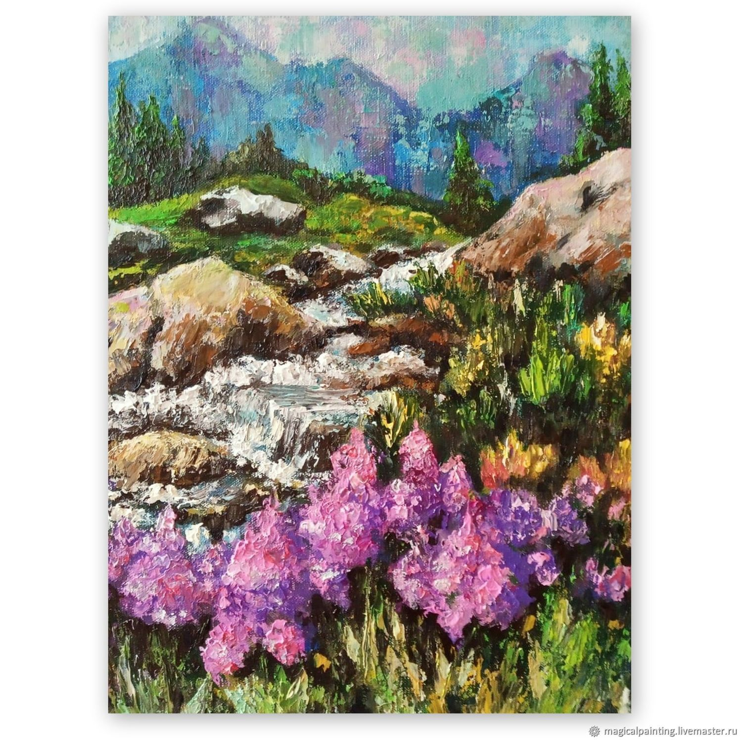 Painting of the mountain palette knife 'blooming Ivan-tea', Pictures, St. Petersburg,  Фото №1