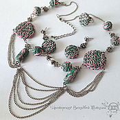 Украшения handmade. Livemaster - original item Set of jewelry made of polymer clay - knitted style. Handmade.