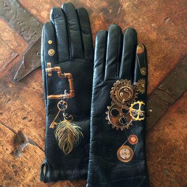 Accessories handmade. Livemaster - original item Steampunk women clothing leather accessory. Smooth black leather drivi. Handmade.