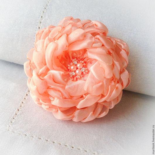 Броши ручной работы. Ярмарка Мастеров - ручная работа. Купить Розово-коралловая небольшая брошка, цветок. Handmade. Коралловый, marilookflowers