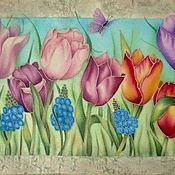 """Картины и панно ручной работы. Ярмарка Мастеров - ручная работа картина на атласе"""" Тюльпановый сад"""". Handmade."""