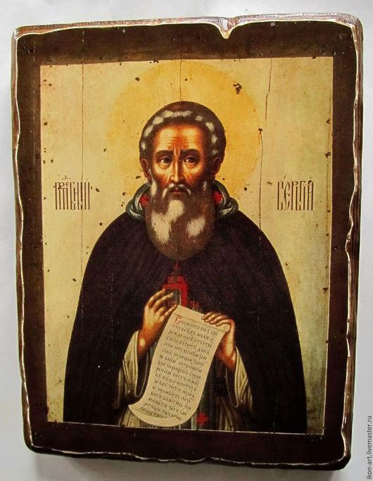 Икона Сергий Радонежский написана Симоном Ушаковым в 17в. Воссоздана в нашей мастерской на деревянной доске.