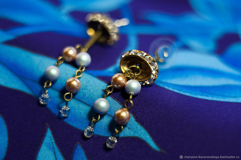 Золотистый с голубым. Серьги, Серьги классические, Москва,  Фото №1