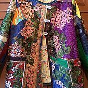 Куртки ручной работы. Ярмарка Мастеров - ручная работа Женская куртка пэчворк Вышивка из цветов. Handmade.