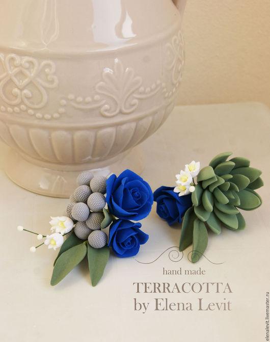 Цветы из полимерной глины  для прически. Terracotta by Elena Levit.