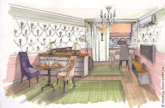 Дизайн интерьеров ручной работы. Ярмарка Мастеров - ручная работа. Купить дизай-проект комнаты 18 м кв. Handmade.
