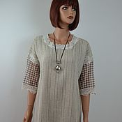 Одежда handmade. Livemaster - original item Summer linen dress with lace
