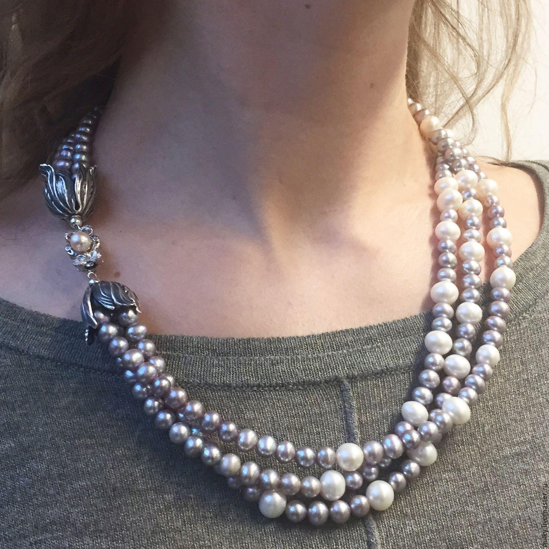 Ожерелье из натурального жемчуга купить в интернет магазине