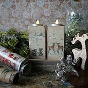 Сувениры и подарки handmade. Livemaster - original item Candlesticks Christmas Forest tales with a fawn. candle decoupage. Handmade.