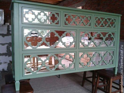Мебель ручной работы. Ярмарка Мастеров - ручная работа. Купить Комод с зеркальным фасадом. Handmade. Зеленый, мебель на заказ