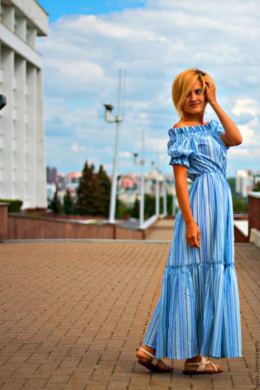 Платья ручной работы. Ярмарка Мастеров - ручная работа. Купить платье-сарафан в полосочку. Handmade. Комбинированный