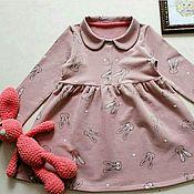 Работы для детей, ручной работы. Ярмарка Мастеров - ручная работа Трикотажное платье с воротничком. Handmade.