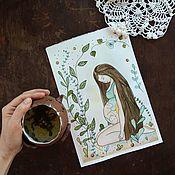 Картины и панно ручной работы. Ярмарка Мастеров - ручная работа Иллюстрация акварель Минуты тишины. Handmade.