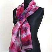 Аксессуары handmade. Livemaster - original item Nuno-felted scarf from silk and wool. Handmade.
