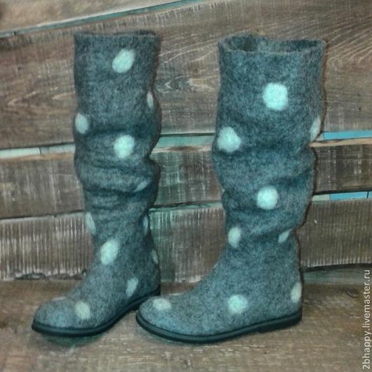 Обувь ручной работы. Ярмарка Мастеров - ручная работа. Купить Валяные сапоги Cherchez la femme 2. Handmade. Серый