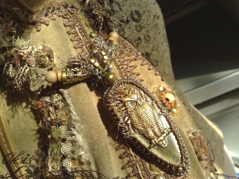 Necklace(pendant) Owl. Mustard agate, bronze, textile Removable pendant, Necklace, Bryansk,  Фото №1